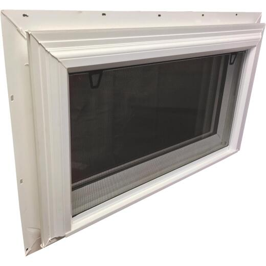 Interstate Model 5100 32 In. W. x 19 In. H. White Vinyl Hopper Basement Window with South Glass Pack