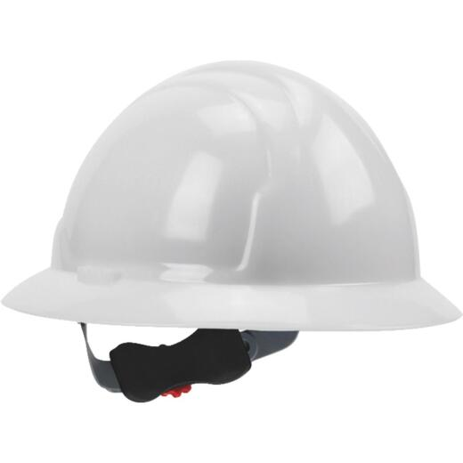 Safety Works White Full Brim Wheel Ratchet Hard Hat