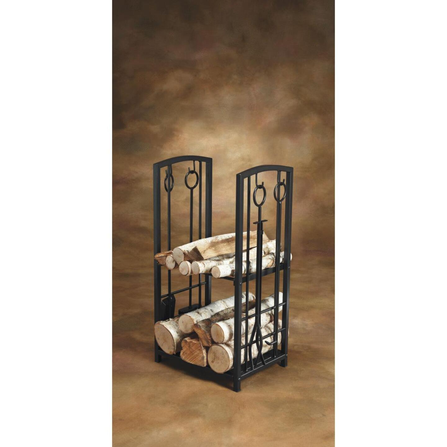 Home Impressions Fireplace Tool Set with Log Rack Image 2