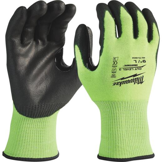 Milwaukee Men's Large Cut Level 3 High Vis Polyurethane Dipped Glove