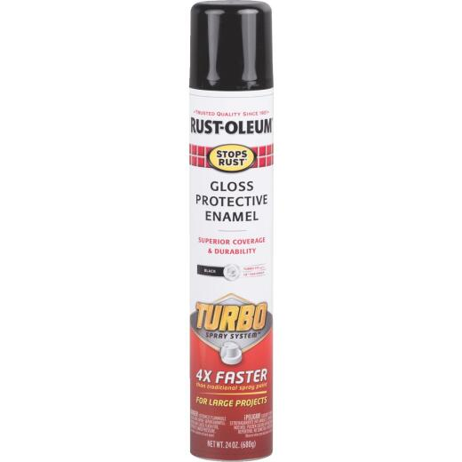 Rust-Oleum Stops Rust 24 Oz. Black Turbo Spray Paint