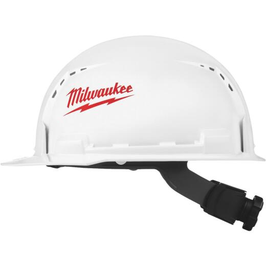 Milwaukee White & Red Front Brim Vented Ratcheting Type 1 Class C Hard Hat