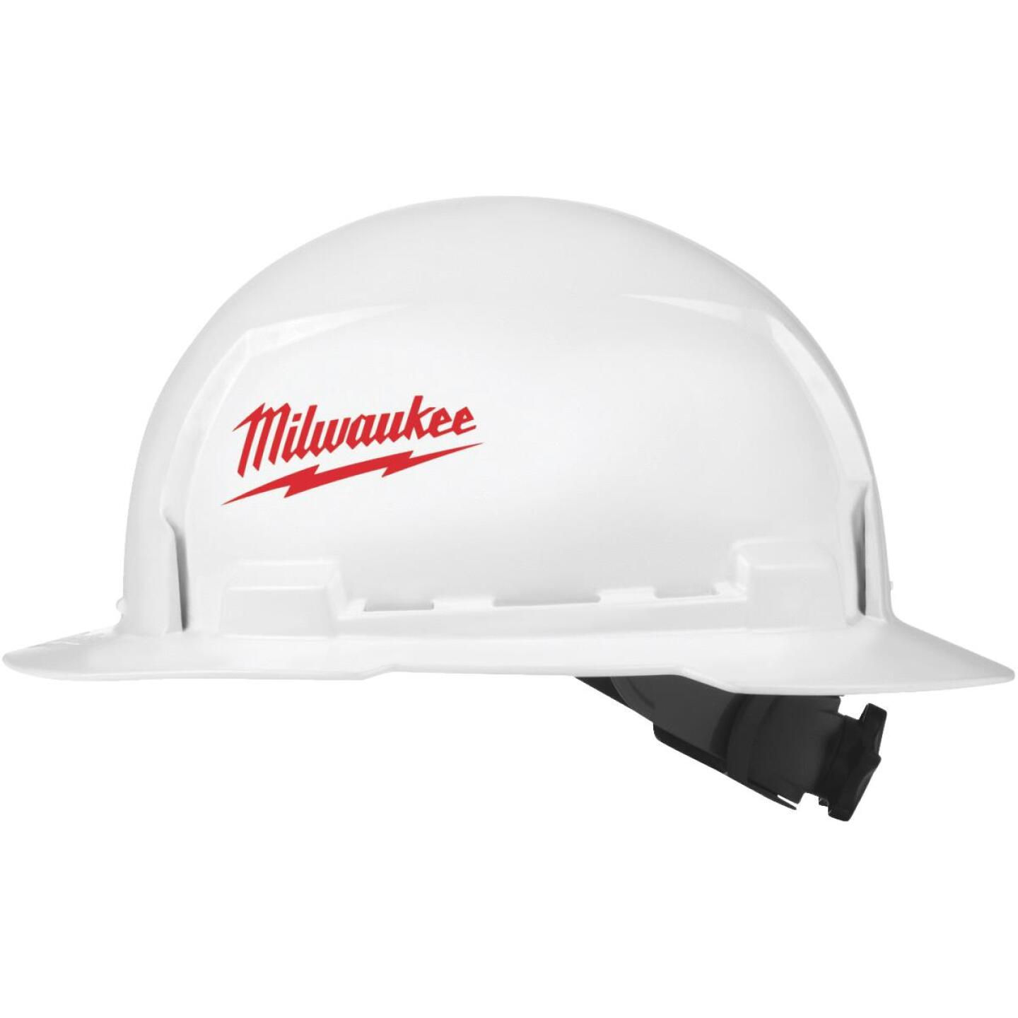 Milwaukee White & Red Full Brim Ratcheting Type 1 Class E Hard Hat Image 1