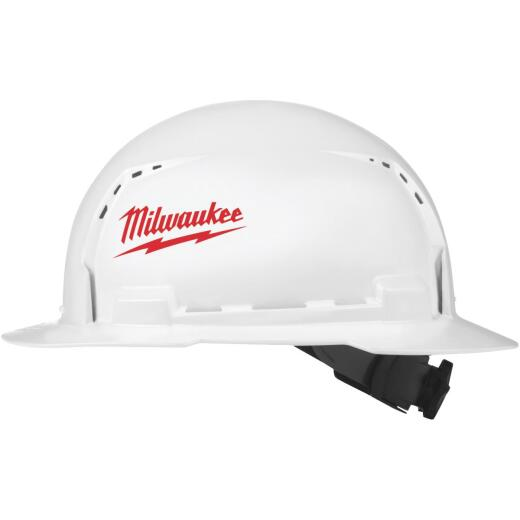 Milwaukee White & Red Full Brim Vented Ratcheting Type 1 Class C Hard Hat