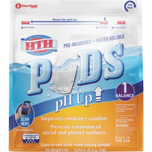 HTH 8 Oz. Pre-Measured Water Soluble PH Up Pods